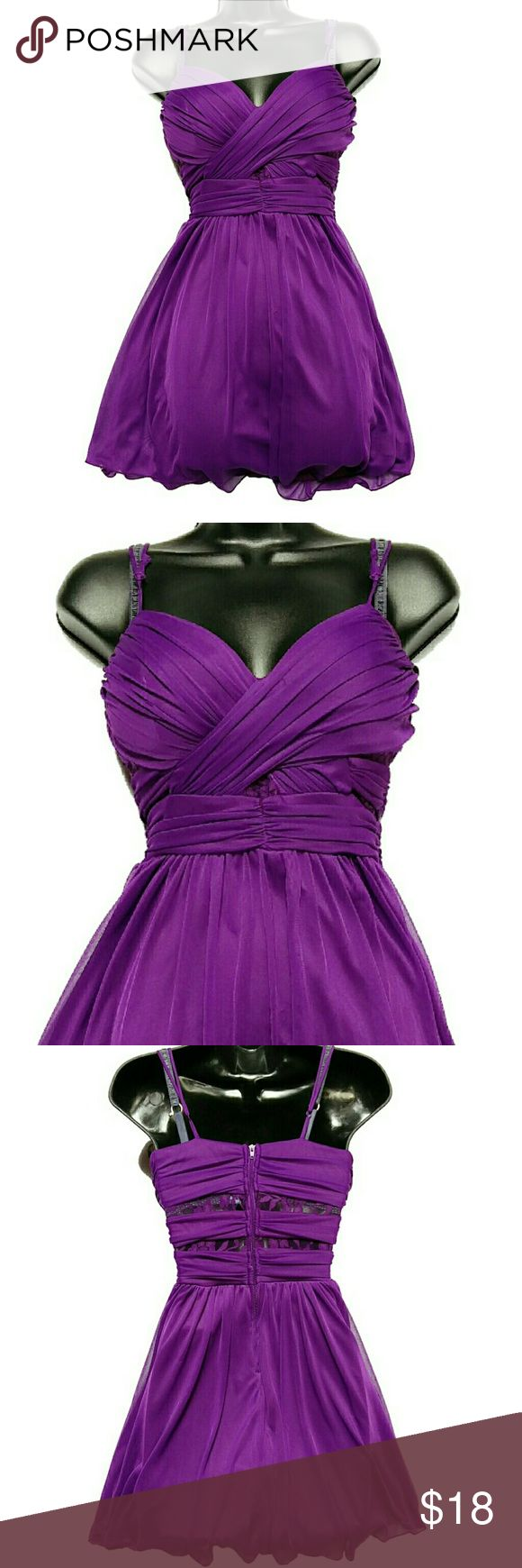B. SMART Cocktail Party Dress Purple Lace Sz 3/4 B. SMART Cocktail Party Dress. Purple color. Fully lined. Padded bust. Sweetheart neckline with ruching on the bodice. Lace cutouts in between the fabric. Adjustable straps. Rayon and spandex blend fabric. Lining is polyester. Size 3/4.  Approximate measurements of the dress are Bust 30 inches and Length 27 inches. Note three is a small tear in the lace at the back. Sold As-is. Overall, in good condition. B. Smart Dresses