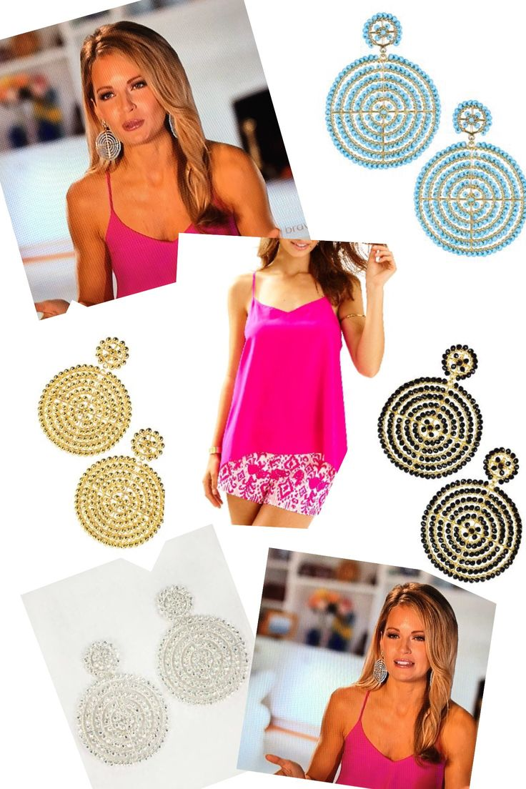 Cameran Eubanks' Pink Interview Tank Top & Silver Disk Earrings http://www.bigblondehair.com/reality-tv/cameran-eubanks-pink-interview-top-circle-earrings/ Southern Charm Season 4 Fashion and Style Lisi Lerch Disc Earrings
