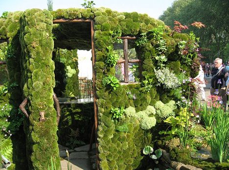 moss vertical garden by Living Walls, via Flickr - good idea for smaller little birdhouses or fairy tree houses too!
