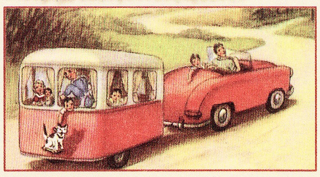 Vintage camper scrapbook cartoon page - riding in a camper before it was illegal.