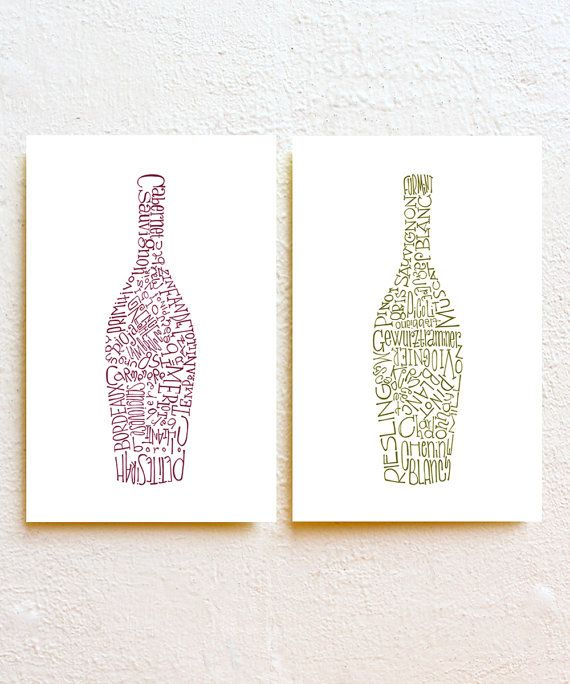 Wine Bottles Kitchen Decor Set Of 2