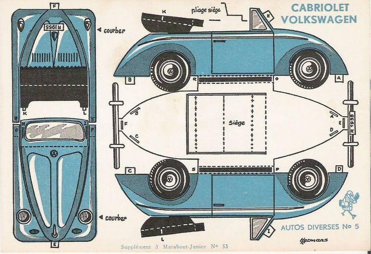 Vw Beatle descapotable azul Vehículo plantilla imprimible recortable Papel car