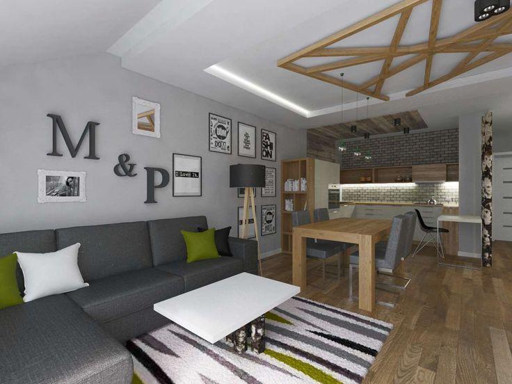 Oryginalny salon w odcieniach szarości połączonej z kolorem naturalnego, jasnego drewna.