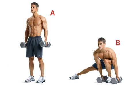 Dumbbell side lunge and touch... Men's Health: The Spartacus Workout