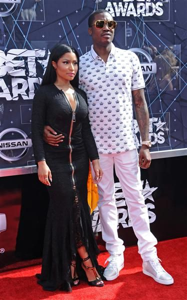 Nicki Minaj and Meek Mill arrive at the BET Awards at the Microsoft Theater in Los Angeles on June 28, 2015.