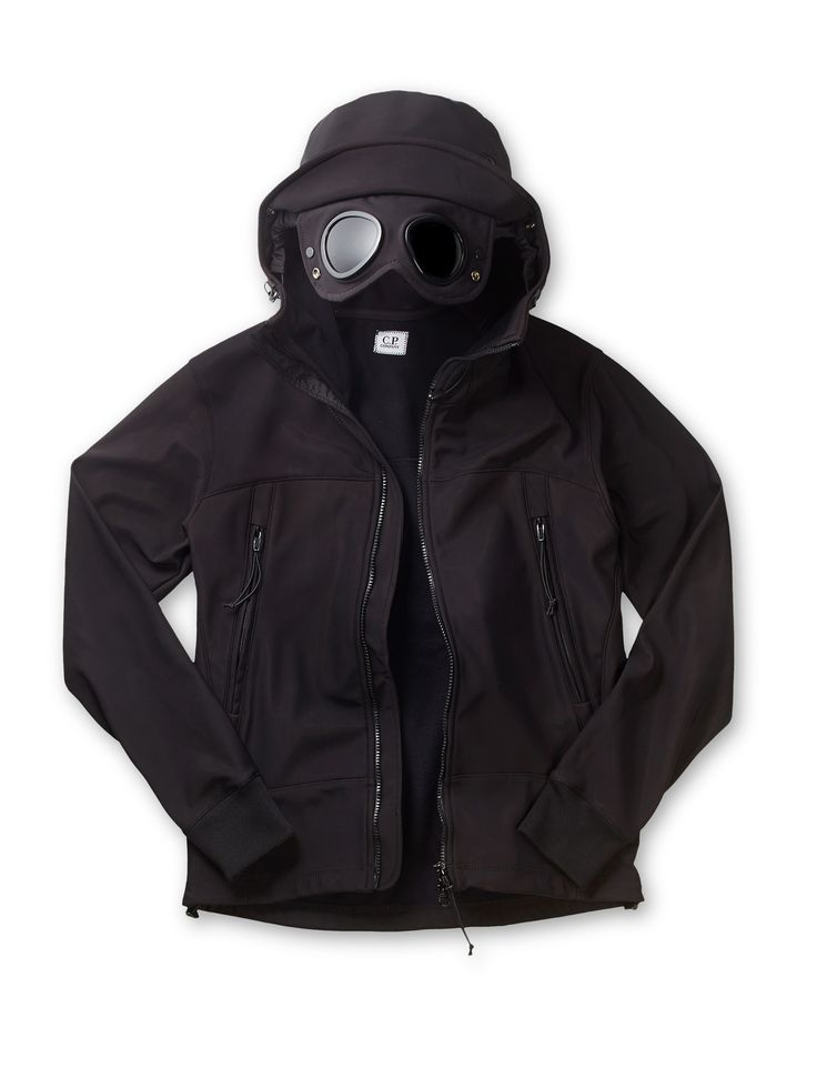 C.P. Company Soft Shell Bonded Goggle Jacket in Black