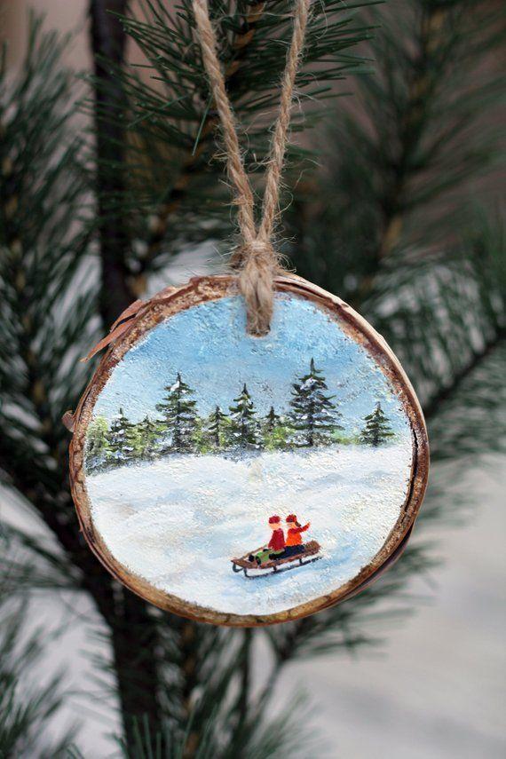 Sledding Fun Wood Slice Ornament Rustic Wood Ornament Wooden Etsy Wooden Christmas Ornaments Christmas Ornaments Painted Christmas Ornaments