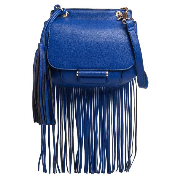 Blue small shoulder bag with fringes and decorative tassels.
