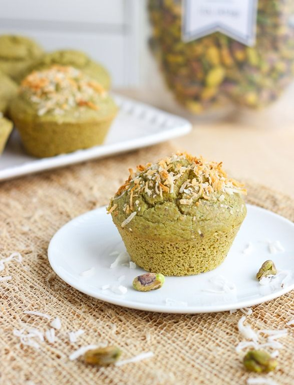 Secret Ingredient Pistachio Muffins- naturally green muffins that are full of delicious pistachio flavor! #glutenfree #vegan