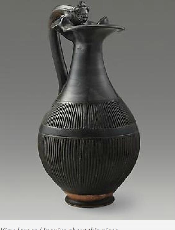 Black Glaze Pitcher with Actor's Head Handle  PERIOD  ca. 300 BC  CULTURE  Magna Graecia, Apulia  CATEGORY  Greek