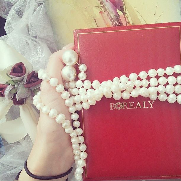 pearls borealy necklace double pearl earings
