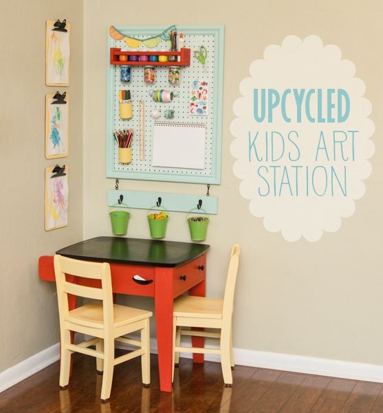 Upcycled Kids Art Station | Love this idea- it makes supplies accessible enough without being too easy to reach (paint supplies up high!)