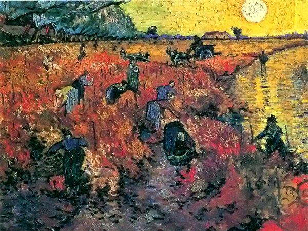 Reproduction de Van Gogh, La vigne rouge. Tableau peint à la main dans nos ateliers. Peinture à l'huile sur toile.