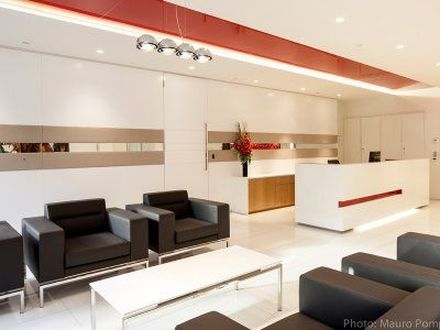 Modern lounge seating adds a touch of comfort to a corporate environment.