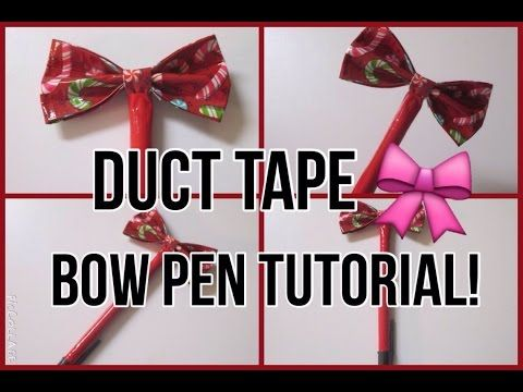 How To||Duct Tape Bow Pen - YouTube                                                                                                                                                      More