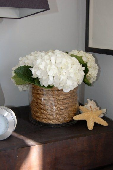 hydrangeas nautical centerpiece: Hydrangeas Centerpieces, Glasses Vase, Diy Craftsdecor, Diy Beaches Bathroom Decor, Flower Arrangements, Floral Arrangements, Nautical Floral, Ropes Vase, Baby Shower