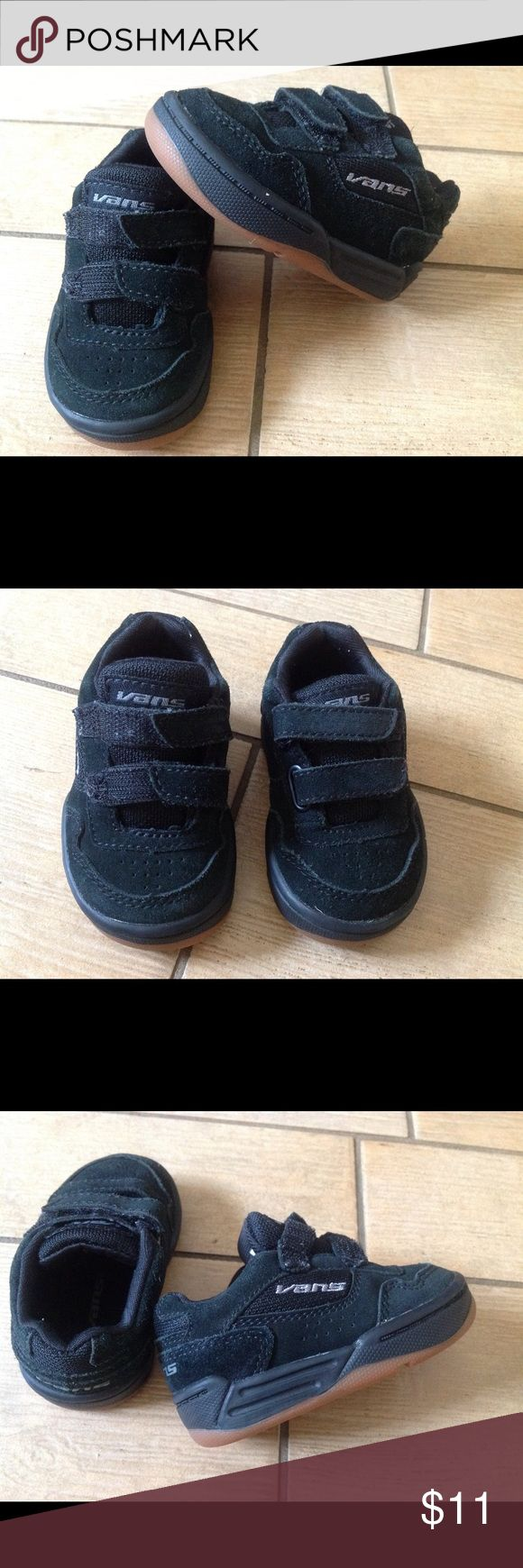 Vans Suede Baby Toddler Old Skool Black suede, Velcro fasteners, 'Chavez V' Core Skate Shoes made just like the grown ups! Vans Shoes Baby & Walker