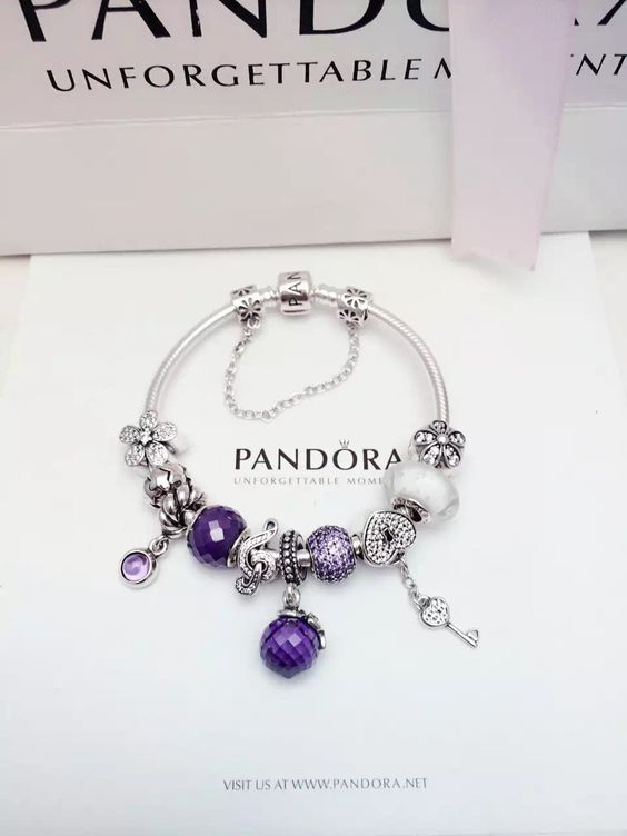 5f48db459 279 Pandora Charm Bracelet Purple White. Hot Sale!