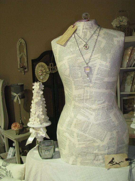 Vintage Inspired Paper Mache Dress Form Mannequin Full