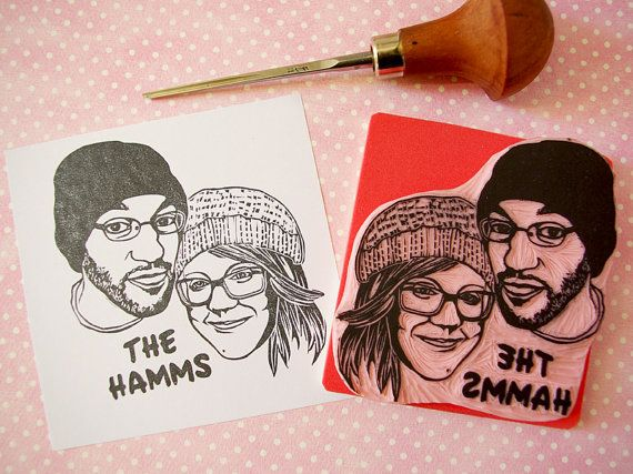 Custom couple portrait rubber stamp hand carved by CassaStamps