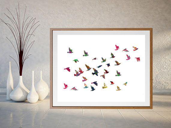 Birds Flock Watercolor Print Birds illustration by MimiPrints