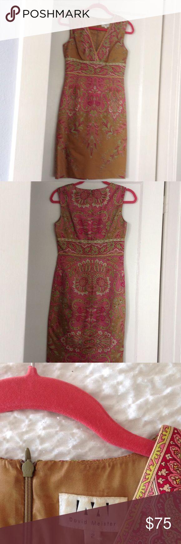Vintage David Meister Form Fitting Dress! Low cut, high waisted, curve hugging vintage print dress, looks amazing on! David Meister Dresses