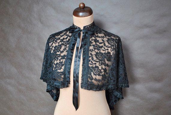 Gothic Victorian Vampire Elegant Burlesque Lolita black LACE CAPE cloak wrap-up, delicate tassels