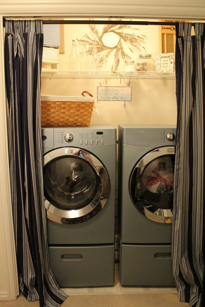 laundry room closet: comely remarkable closet laundry room storage design silver modern washing machine black striped pattern laundry curtain beige wall painting natural brown wreath ornament light brown rattan laundry basket s