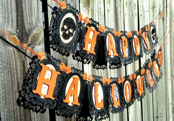 Halloween Banner, Skull Banner, Happy Halloween Banner, Black and Orange banner, Fall Banner, Scary Banner, Kids Halloween Banner, Halloween by NishsCreations on Etsy