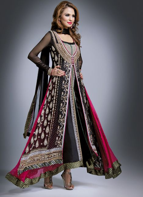 pink, gold n black, pakistani couture