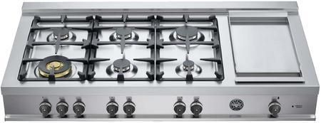 """CB48M 6G 00 X 48"""" Master Rangetop with 5 Burners plus 1 Dual Power Burner Electric Griddle Large Soft-touch Knobs and Cast Iron Grates in Stainless Steel: Natural Gas"""