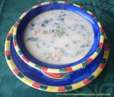 Recetario Spanglish para mis hijos: Sopa de col rizada (kale green) con trigo a la crema