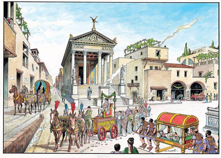 Era intenso el ajetreo de las calles de la Roma Imperial donde habitaban más de un millón de personas. Gente por todas partes, palanquines llevados por esclavos, carros con los que se hacía el reparto diario desde los almacenes a los puntos de venta... Era tal la ingente cantidad de materiales a repartir, que Roma estaba llena de almacenes o polígonos industriales, tanto dentro de la propia ciudad como fuera.