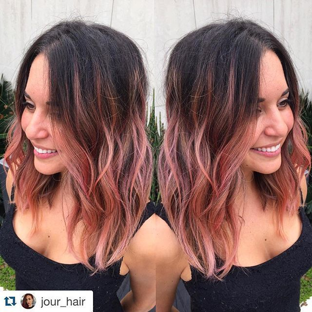 Brunette with rose gold Yes! @jour_hair with @repostapp. ・・・ Transformation  Thursday! ✨Rose Gold Textured Lob on my beauty Hair Color, Cut and Style by  ...