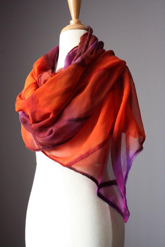 RESERVED Nuno felted scarf shawl wrap silk wool design brown