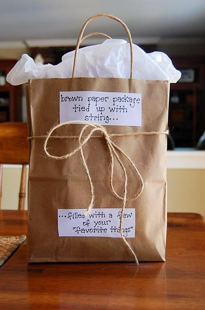 Easy gift to brighten a friend's day!: Teacher Gifts, Gifts Bags, Sound Of Music, Favorite Things, Gifts Ideas, Paper Bags, Cute Ideas, Gifts Wraps, Brown Paper Packaging
