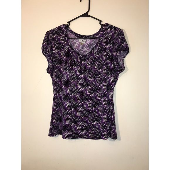 Worthington top Patterned top. Purple, black, and white colors. Great condition. Worthington Tops Blouses