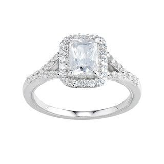 Diamonluxe Simulated Diamond Rectangle Halo Engagement Ring In