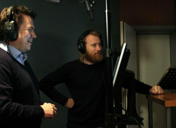 Per-Arne Tuftin og Thorbjørn Harr i studio for å dubbe Disney-filmen Frozen. FOTO: GABRIELLE GRAATRUD