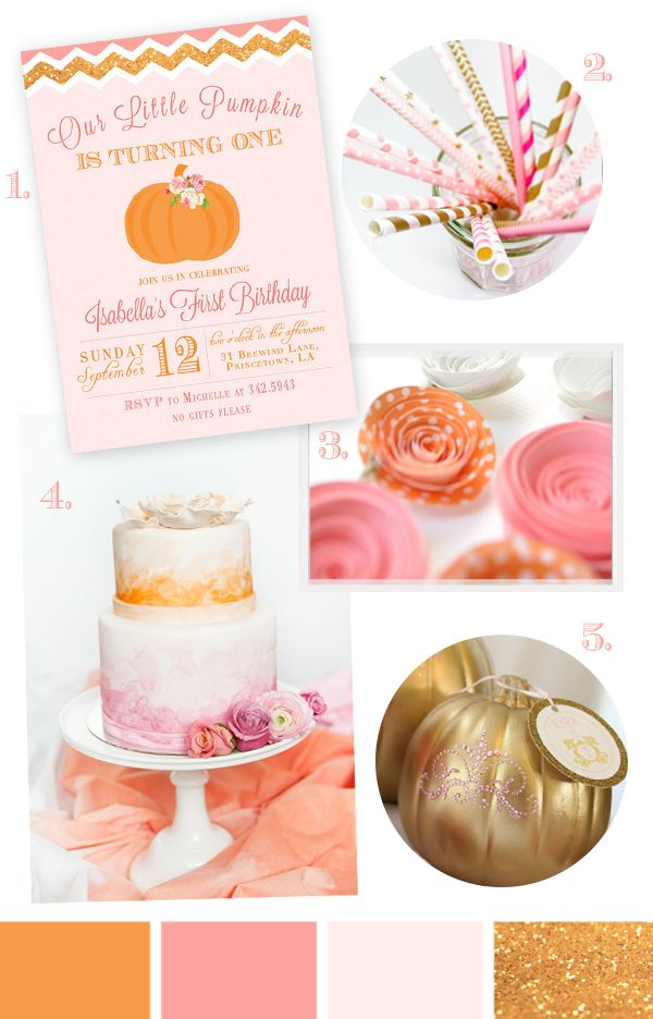 Little Pumpkin Party Ideas | Pink and Gold Pumpkin Party