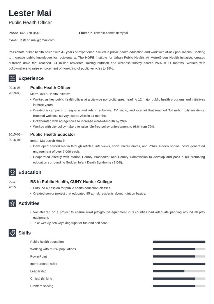 11++ Public health resume template inspirations