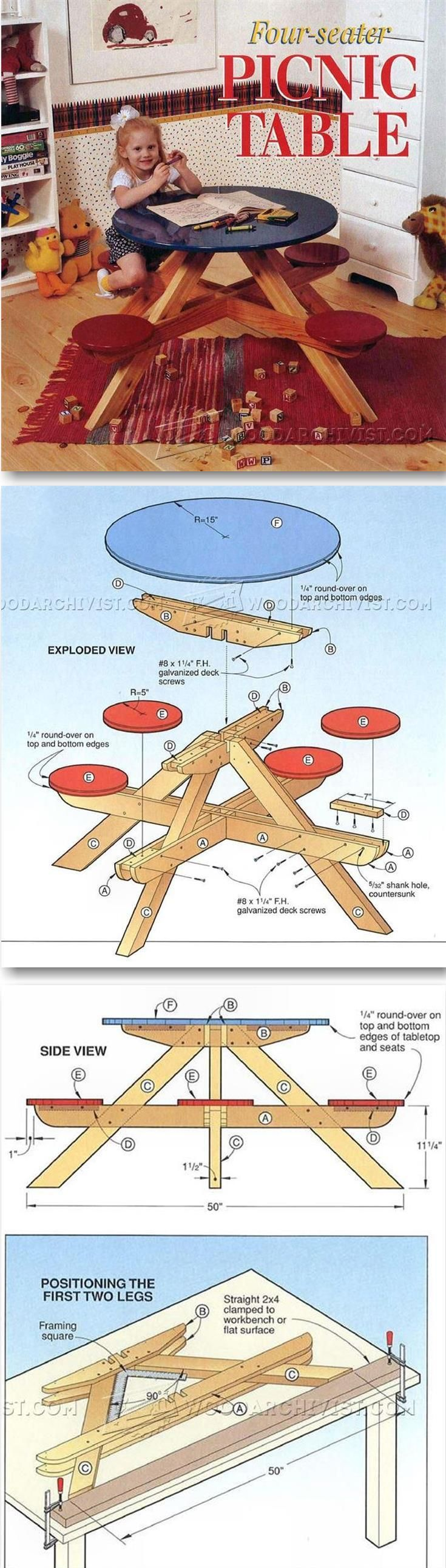 Children's Round Picnic Table Plans - Children's Plans and Projects | WoodArchivist.com