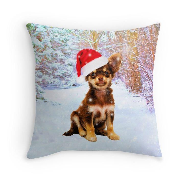 Let it Snow Christmas Holiday Chihuahua Dog Wearing Santa Hat