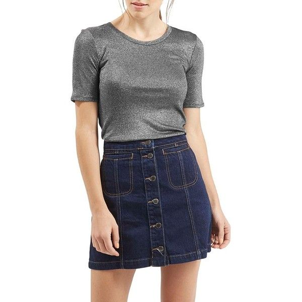 Topshop Metallic Short Sleeve Tee ($40) ❤ liked on Polyvore featuring tops, t-shirts, silver, crewneck t-shirt, metallic t shirt, metallic top, crewneck tee and short sleeve crew neck t-shirt