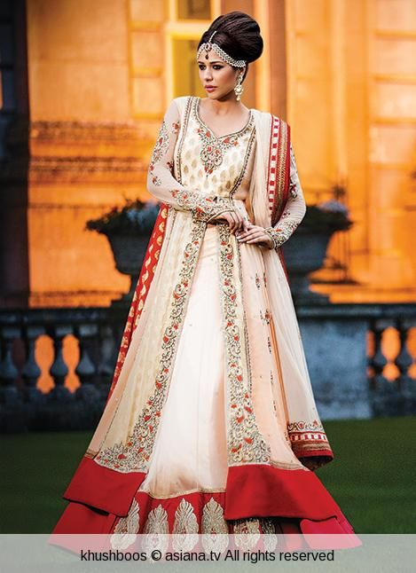 Indian bridal dress in cream and red by khushboos