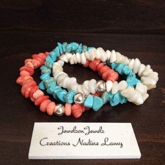 Coral Bracelet Stacking//Turquoise by JewelzonJewelz on Etsy