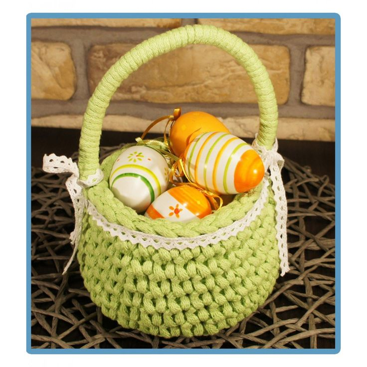 ręcznie robiony koszyk ewcia handmade ze sznurka bawełnianego