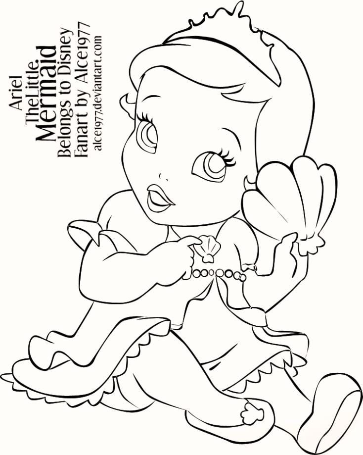 Baby Little Mermaid Ariel Coloring Pages