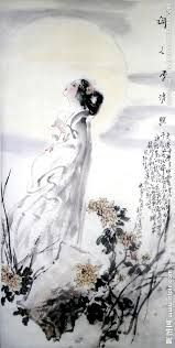 "Li Bai(李白) , 《子夜吴歌·秋歌》 , ""长安一片月,万户捣衣声。 秋风吹不尽,总是玉关情。 何日平胡虏,良人罢远征。"""