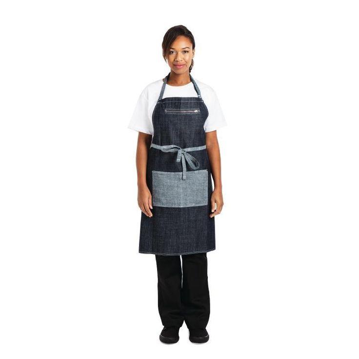 Delantal azul índigo con peto modelo Manhattan Chef Works